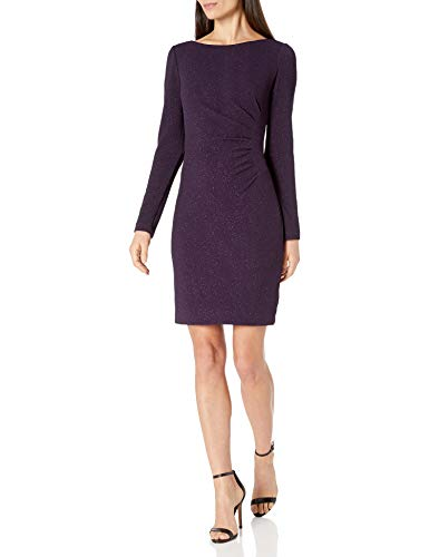 Eliza J Women's Long Sleeve Boat Neck Sheath with Side Tuck Casual Dress, Plum, 8