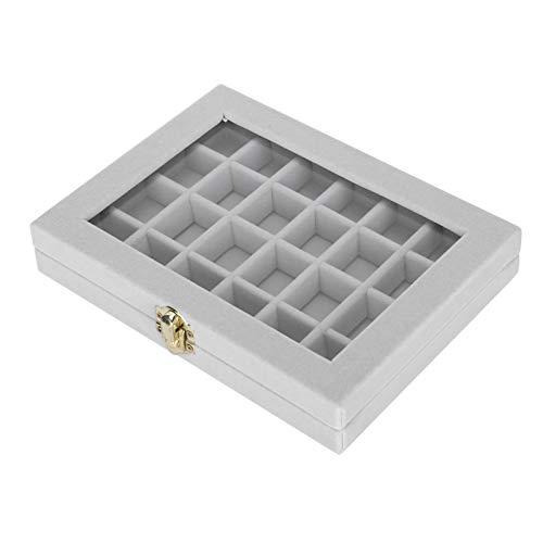 DAUERHAFT Mit einem Oberlicht Ohrring Aufbewahrungsbox Schmuck Aufbewahrungskoffer aus Holz für den Heimgebrauch(Gray)