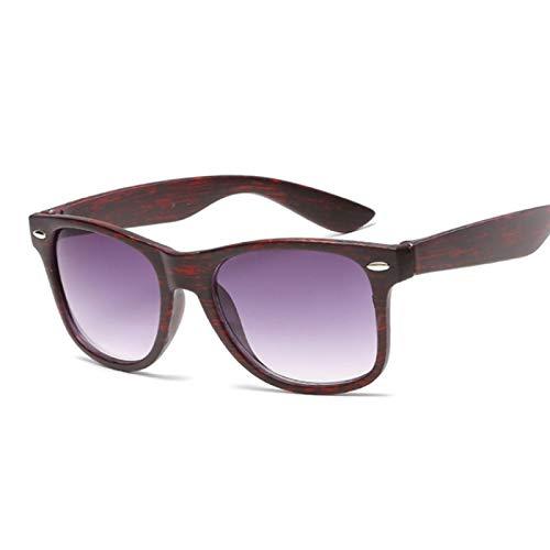 NJJX Gafas De Sol Cuadradas Vintage Para Mujer, Gafas De Sol De Madera A La ModaPara Hombre, Mujer, Lujo, Conducción Al Aire Libre, Grano Rojo