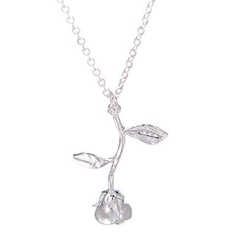 Collares para mujer, elegante collar con colgante de flor de rosa, joyería regalo del día de San Valentín, plata