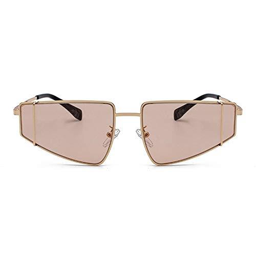 LCSD Gafas de sol hombre de metal dorado marco pequeño gafas de sol Europa y los Estados Unidos Trend Driving UV400 Protección Lentes de colores (color: marrón)