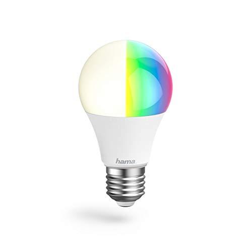 Hama E27 Wi-Fi LED-Lampe, 10W (ohne Hub, dimmbar, gesteuert via Alexa/Google Home/App, 2,4GHz, RGB Farbwechsel, 2700K, warmweiß) WLAN Lampe, Echo/Echo Dot/Echo Spot/Echo Plus/Echo Show kompatibel
