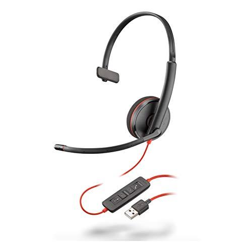Fone de ouvido com fio Plantronics - Blackwire 3210 – monaural com microfone Boom – USB-A para conectar ao seu PC e/ou Mac