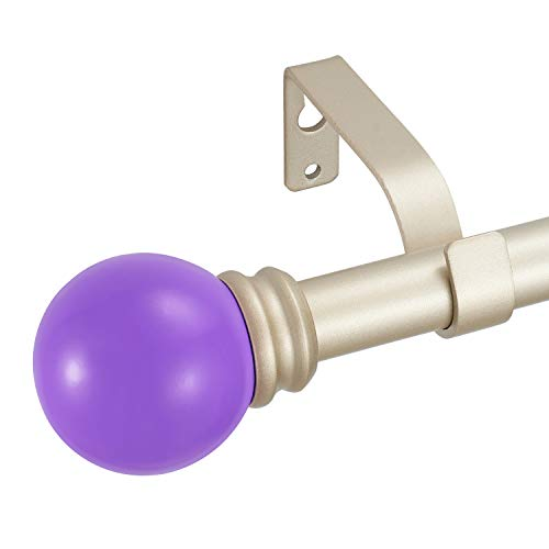"""Kemmie 3/4"""" Lightweight Decorative Window Curtain Rod with Solid Color Poly Ball Finials, Adjustable Length 48-84"""", Purple"""