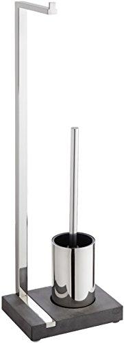 blomus -MENOTO- Stand WC-Garnitur aus poliertem Edelstahl, freistehender Toilettenbutler, platzsparende Konstruktion in exklusiver Optik, Badaccessoire (H / B / T: 64,5 x 15 x 20 cm, Edelstahl, 68688)