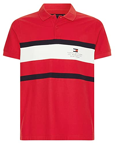 Tommy Hilfiger Herren Poloshirt Chest Stripe Slim Polo Slim Fit rot (74) L