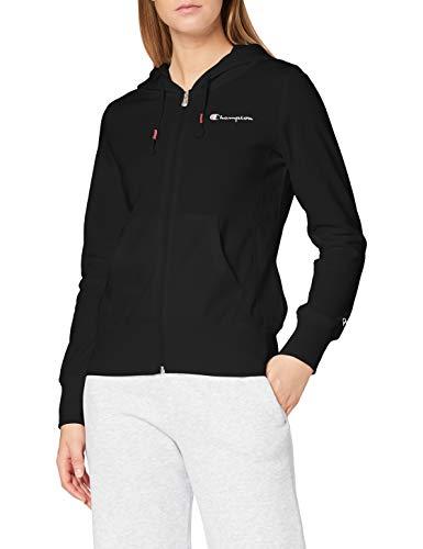 Champion Damen - Classic Small Logo Kapuzenpullover mit Reißverschluss - Schwarz, S