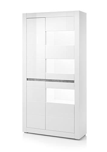 Newfurn Vitrine Vitrinenschrank Modern Holzvitrine II 100x198x 35 cm (BxHxT) II [Finn.one] in Weiß/Weiß Hochglanz Wohnzimmer Schlafzimmer Esszimmer Flur Diele