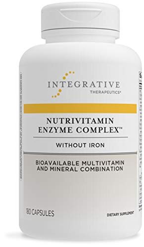 Integrative Therapeutics NutriVitamin Enzyme Complex - Without Iron - Bioavailable Multivitamin and Mineral Combination with Vitamin C, Vitamin E and Microbial Digestive Enzymes - Gluten Free - Dairy Free - 180 Capsules