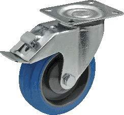 Donkergrijs polypropyleen wiel met blauwe elastische Performa band. Draaivork met rem, 125, Grijs, 1