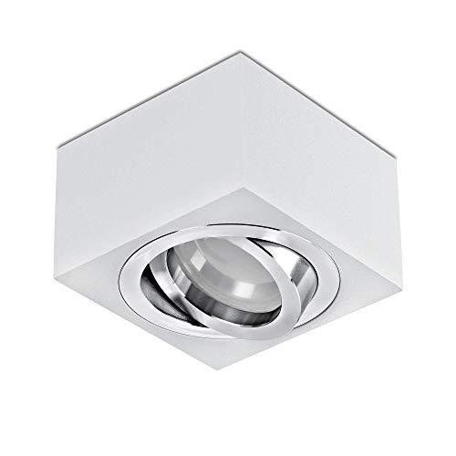 lambado® Flache LED Aufbauleuchte/Deckenstrahler Set inkl. 230V 5W Spots dimmbar - dezente Aufbaustrahler/Deckenspots (eckig, weiss, schwenkbar)