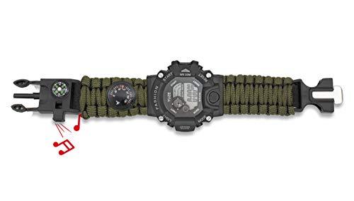 Reloj Tactico Militar Pulsera Digital Paracord Verde Barbaric Incluye Silbato, pedernal, brújula y termómetro para Caza, Camping, Supervivencia Albainox 33889-VE + Llavero Mosquetón de Regalo