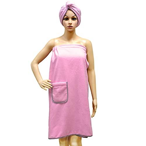 Polyte - Toalla de baño de Microfibra para Mujer con Toalla para el Pelo - Secado rápido - Rosa - Talla única ✅