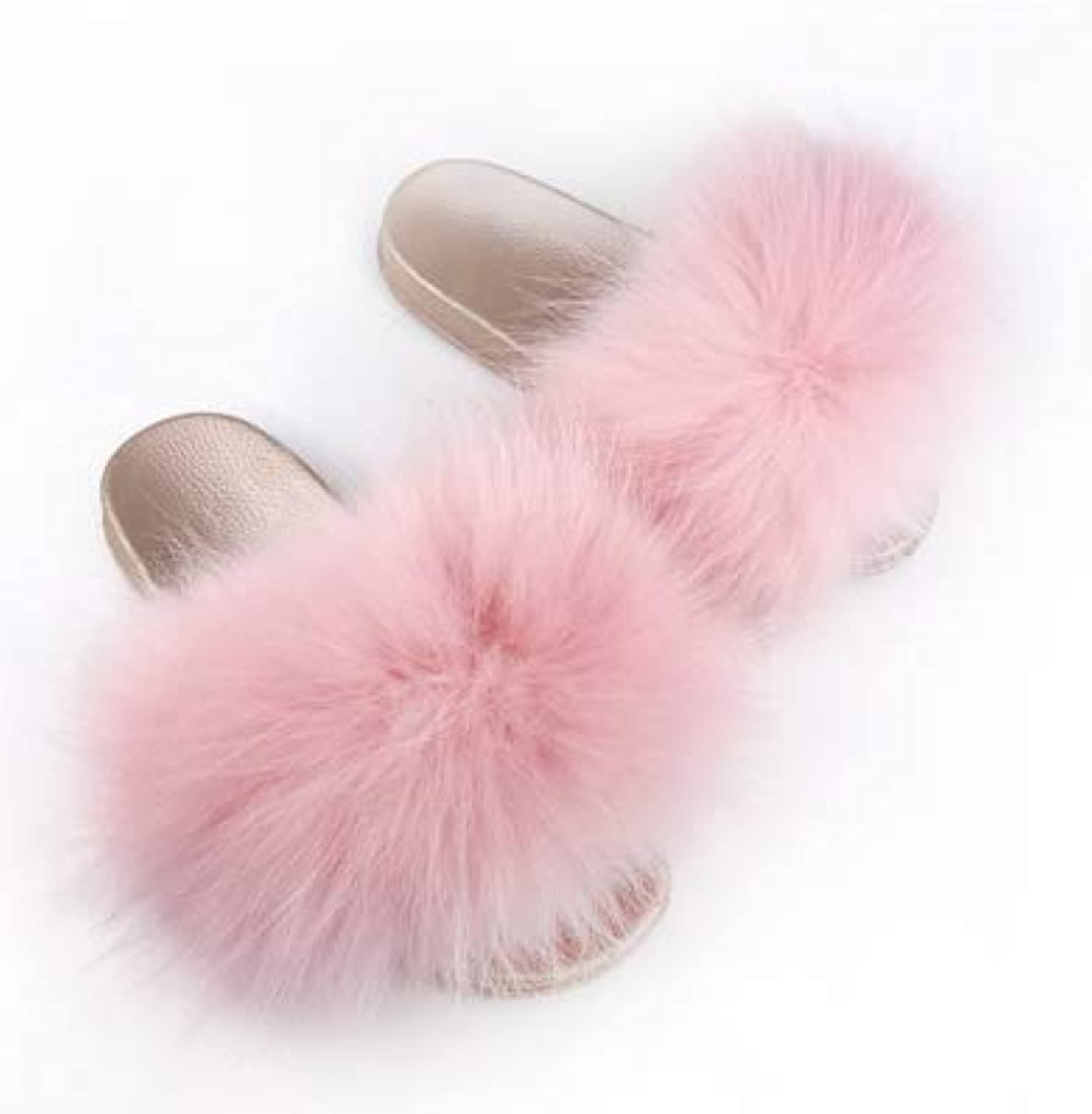 Winter Autumn Open Toe Real Raccoon Fur Slides Beach shoes Women's Furry Flip Flops Home Slippers color6 8.5