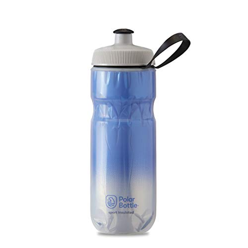 Polar Bottle Sport Insulated Water Bottle - BPA-Free, Sport & Bike Squeeze Bottle with Handle (Fade - Royal Blue & Silver, 20 oz)