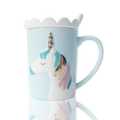 BigNoseDeer Keramik Tassen Einhorn Becher,Kaffeetasse Personalisiert Milch Teetassen mit Spitzendeckel und Löffel für Kinder, Frauen, Mädchen