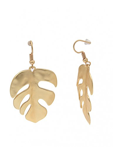 Leslii Damenohrringe Ohrhänger Tropen-Blatt Farn-Blatt Blätter goldene Modeschmuck-Ohrringe Ohrschmuck 6cm in Matt Gold