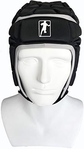 gearD Soft Shell Headgear Rugby + Free Bag – Padded Head, Chin, Ear Protection – Soccer Goalie Helmet – Black Adult Size Pro Sport Headguards- Flag Football Scrum Cap – Elite Goalkeeper Guard
