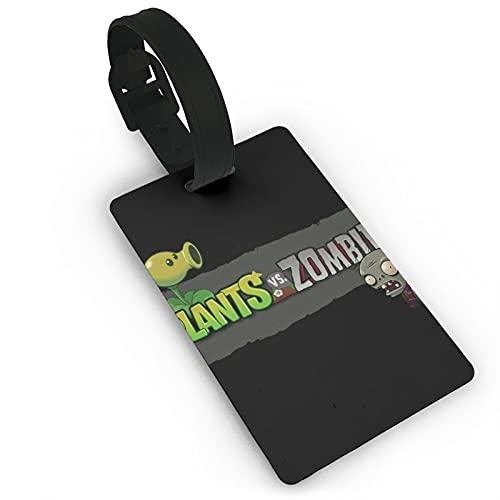 Pla-NTS Vs. Zombies etiqueta de equipaje con tarjeta de identificación de nombre colorido y seguro bolsa de equipaje etiquetas de PVC