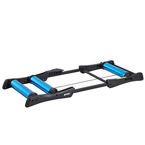 HOMCOM Home Trainer Rouleaux dim. 145L x 56l x 10,5H cm Taille réglable pédale antidérapante Aluminium Noir Bleu