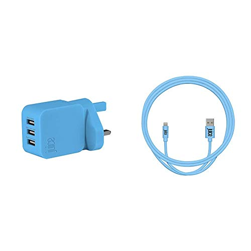Juice Triple Three Port Universal Mains Charger, Aqua & Apple iPhone Lightning 1m Charger and Sync Cable for Apple iPhone 12, 12 Mini, SE, 11, XS, XR, X, 8, 7, 6, 5, iPad, Pro - Aqua