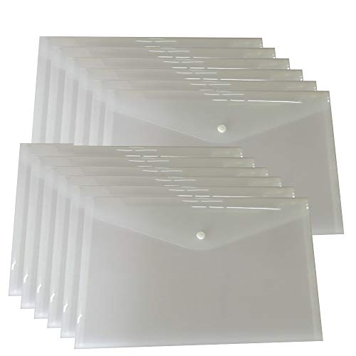12 Plastic File Envelopes Clear White Document Poly Envelope Folders Transparent Project Envelope Folders with Snap Button Closure A4 Letter Size (12 Clear White)