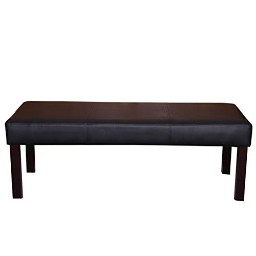 Mendler Sitzbank Polsterbank Bank M37 Kunstleder ~ 120x43x49 cm schwarz, dunkle Beine