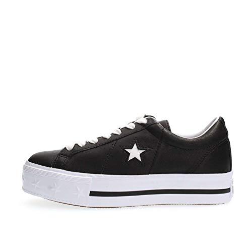 Converse Lifestyle One Star Platform Ox, Scarpe da Ginnastica Basse Donna, Nero (Black/White/White 001), 36 EU