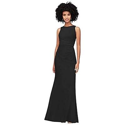 David's Bridal High-Neck Ruched Mesh Bridesmaid Dress Style F19946, Black, 10