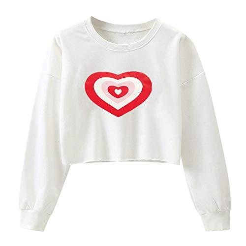 Kapuzenpullover Hoodie Crop Top Sweatshirts Frauen Langarm O-Ausschnitt Love Print Einfarbig Kurzes Sweatshirt Damen Kleidung L Weiß
