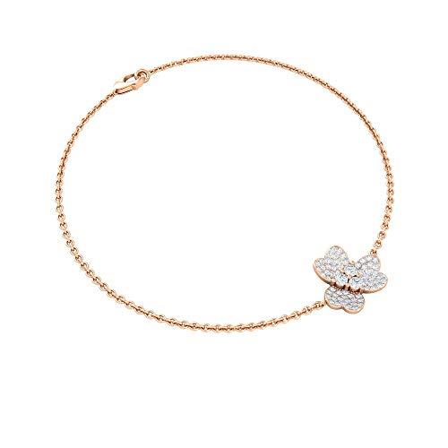 Pulsera floral de diamante de 1/3 quilates, única pulsera de diamantes, pulsera de cuentas de mujer antigua, pulsera de abalorios, chica oficina desgaste pulsera, 14K Oro rosa 7 Inches