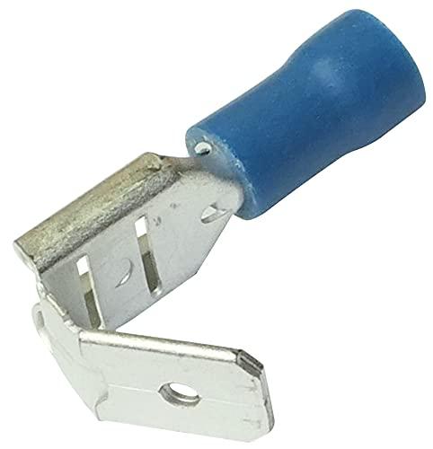 AERZETIX: 100x Terminales electricos planos macho/hembra 6.3mm 0.8mm 1.5.2.5mm² aislado azul C11513