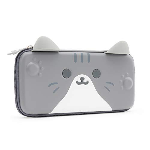 Geekshare Switch ケースニンテンドー スイッチ ケース 収納バッグ スイッチ収納バッグ 全面保護 持ち運び便利 ゲームカード10枚収納 Switch対応 かわいい猫 収納ケース 薄型 グレー