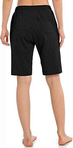 Women's Workout Lounge Bermuda Shorts - Gym Yoga Athletic Running Sweat Long Shorts with Pockets
