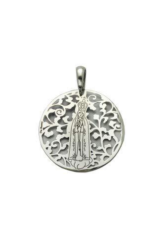 Medalla Virgen de Fátima en Plata de Ley