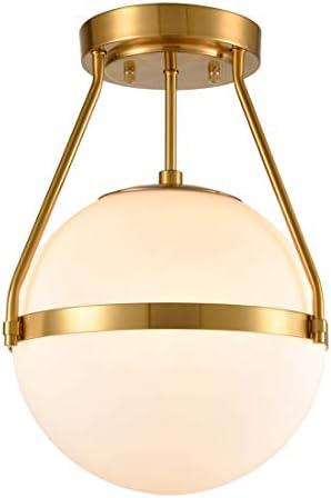 Mid Century Modern Globe Semi Flush Mount Ceiling Light Fixture White Opal with Brass Finish product image