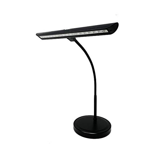 Infitronic IN18LEDKL – 18 LED Lampe de piano Lampe de table Lumière blanche et chaude Intensité variable USB Port de charge Noir