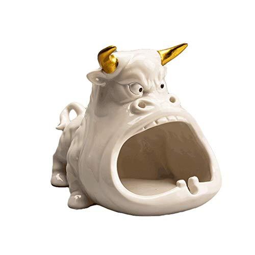 ykw Cenicero Cenicero de cerámica para Cigarrillos Cenicero en Forma de Vaca Gran Apertura Cenicero de diseño