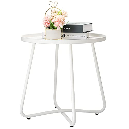danpinera Outdoor Side Tables, Weather Resistant Steel Patio Side Table, Small Round Outdoor End Table Metal Side Table for Patio Yard Balcony Garden Bedside White