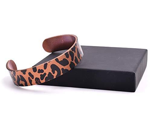 Pulsera de cobre hecha a mano con diseño de estampado de leopardo, no magnética.