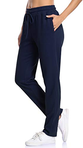 NEWMEEN Comfortable Sweatpants for Women,Elastic Bands Loose Yoga Pants Ladies Drawstring Waist Terry Fleece Joggers Outdoor Recreation Gym Clothes Large Navy