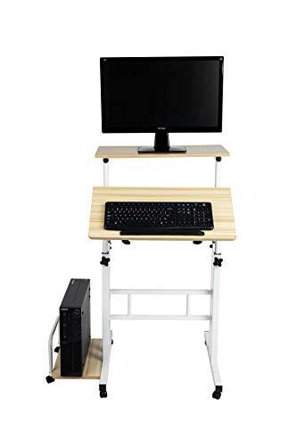 Mind Reader SDROLL-WHT Mobile Sitting, Standing Desk Rolling...