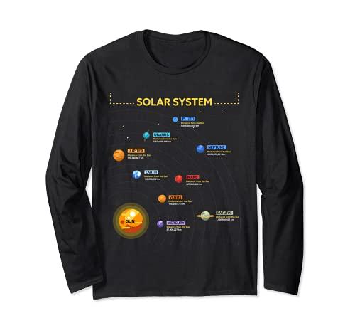 Camiseta del sistema solar - Camisa de regalo impresionante para los frikis del espacio Manga Larga