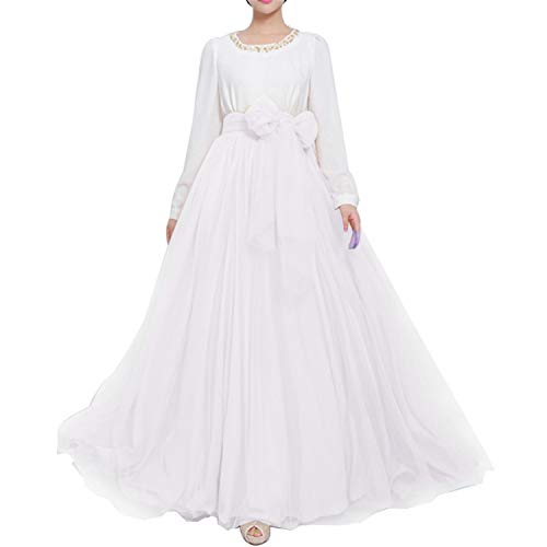 Women Wedding Long Maxi Puffy Tulle Skirt Floor Length A Line with Bowknot Belt High Waisted for Wedding Party Evening(White,Small-Medium)