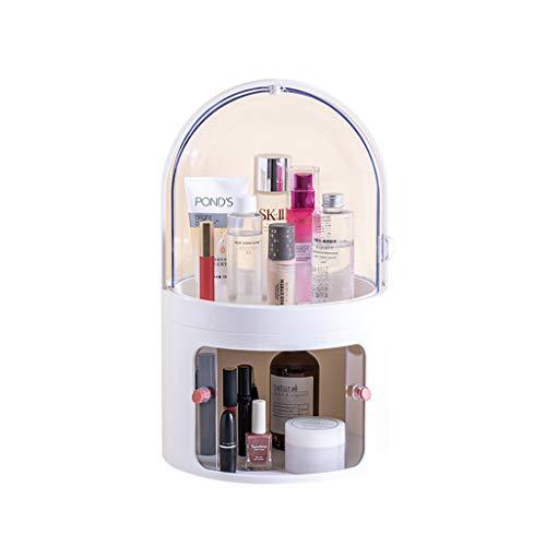 Caja de exhibición de caja de almacenamiento de cosméticos transparente, organizador de maquillaje redondo portátil multifuncional de gran capacidad de 2 niveles a prueba de polvo ( Color : Blanco )