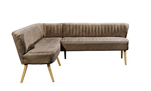 Stella Trading Marcel Diningeckbank, Sitzbank Esszimmer, Stoff, Light Brown, 164 x 220 x 83 cm