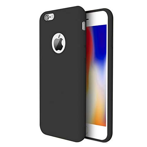 TBOC Cover per Apple iPhone 8 [4.7']- Custodia Rigida [Nera] Silicone Liquido Premium [Sensazione Morbida] Fodera Interna Microfibra [Protegge Fotocamera] Antiscivole Resistente Sporco Graffi