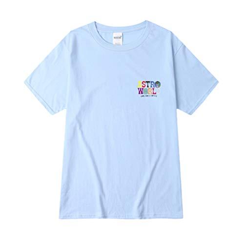 Ketamyy Camisetas ASTROWORLD Estampadas para Mujer Hombre Algodón Cuello Redondo Remeras Verano Jovenes Casual Hip Hop Estilo Manga Corta Slim Fit Playera Frente Atrás