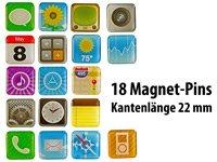 Originele magneten in app-design, 18 verschillende motieven in een set