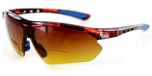Aloha Eyewear Daredevil Mode Bifokalwillen Sonnenbrille mit Wrap-Around Sports Design und Anti-Glare Beschichtung (Tortoise + Blau W/Bernstein +1.50) 1.5 2 groß Schildkröte Blau